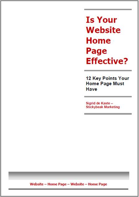 12 Questions Home Page Evaluation